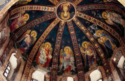 Church of Christ of Chora, (Kariye Camii), Istanbul 11th-12th century, restored 1316. Parakklesion, west bay, dome, detail. The Virgin and Child with images